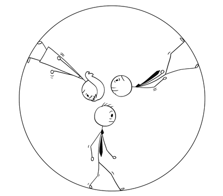Cartoon stick man drawing conceptual illustration of team of three sad or tired business people, businessman and businesswoman walking in circle or squirrel or hamster wheel. Business concept of repeating work and career stagnation or routine.