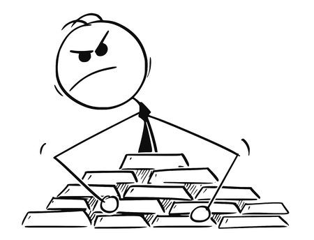 Cartoon stick man drawing conceptual illustration of paranoid businessman protecting his gold ingots bullion treasure. Illustration