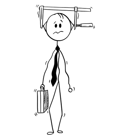 Cartoon stick man drawing conceptual illustration of businessman with clamp on his head. Business concept of pressure, overwork and stress.