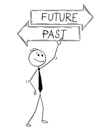 Cartoon stick man drawing conceptual illustration of businessman writing text on two decision arrow future and past text sign. Vettoriali