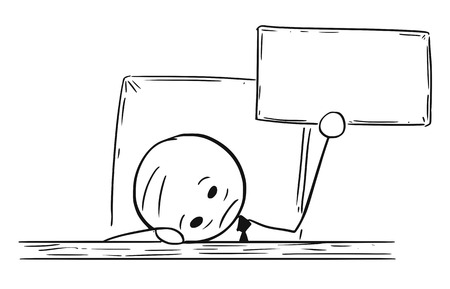 Homme de bande dessinée bande dessinée dessin illustration de l'homme d'affaires déprimé, fatigué ou surmené avec la tête sur la table et signe vide ou vierge. Concept d'épuisement ou de problèmes et de problèmes. Vecteurs