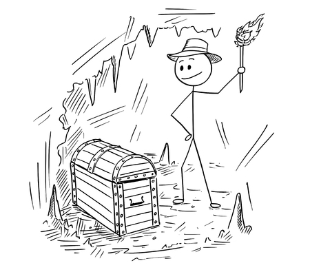 Cartoon stick man drawing illustration of adventure man who found a treasure chest in cave. Stock Illustratie