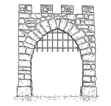Cartoon vector doodle drawing illustration of open medieval stone decision gate with iron bars .