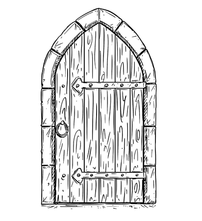 Cartoon vector doodle drawing illustration of closed or locked medieval wooden door.