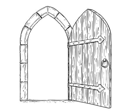 Cartoon vector doodle drawing illustration of open medieval wooden decision door. Stock Illustratie