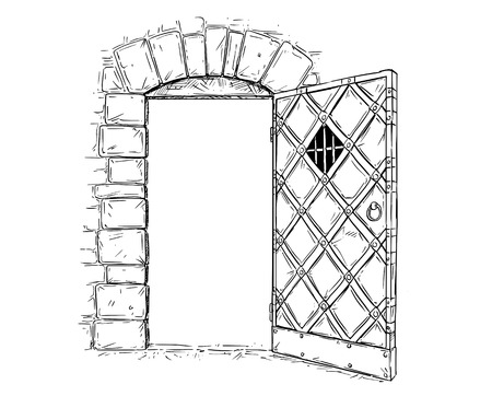 Cartoon vector doodle drawing illustration of open medieval wooden decision door. Illustration