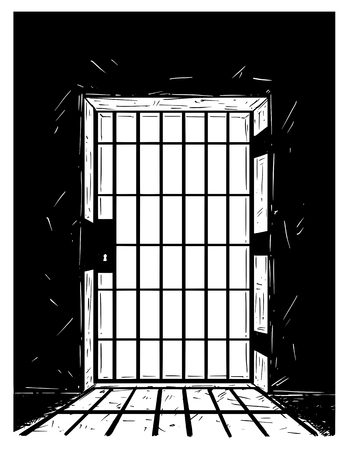 Cartoon vector doodle drawing illustration of prison or jail door made from iron bars casting shadow.