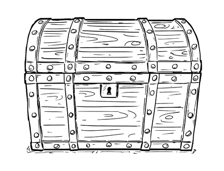Cartoon vector doodle drawing illustration of old wooden closed and locked pirate treasure chest or trunk. Business concept of security,secret and treasure.