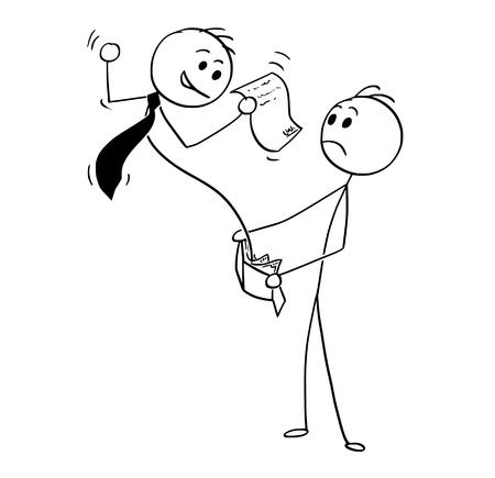 El ejemplo conceptual del dibujo del hombre del palillo de la historieta del hombre de negocios surge con el acuerdo de la cartera de los clientes. Concepto de negocio de la deuda, préstamo y crédito. Foto de archivo - 94801556