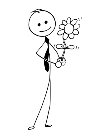 Cartoon stick man drawing conceptual illustration of businessman care about blooming plant in his hand. Business concept of investment, growth and success . Illusztráció
