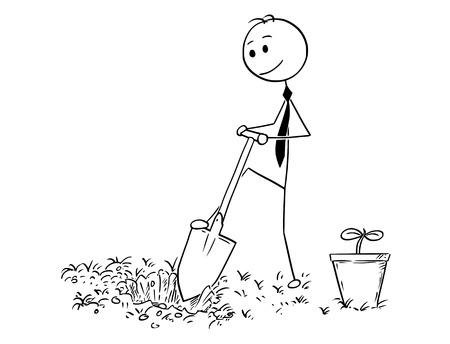 Cartoon stick man drawing conceptual illustration of businessman digging hole to plant a tree. Business concept of investment, growth and success. Illustration