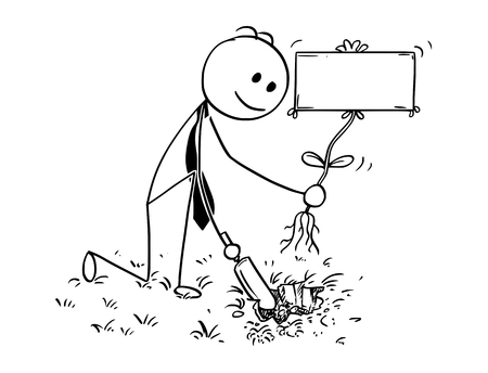 Cartoon stick man drawing conceptual illustration of businessman digging hole with small shovel to plant a tree with empty or blank sign as flower. Business concept of investment, growth and success.