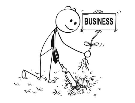 De mens die van de beeldverhaalstok conceptuele illustratie van zakenman graven gat met kleine schop trekken om een boom met bedrijfsteken te planten als bloem. Concept van investeringen, groei en succes.