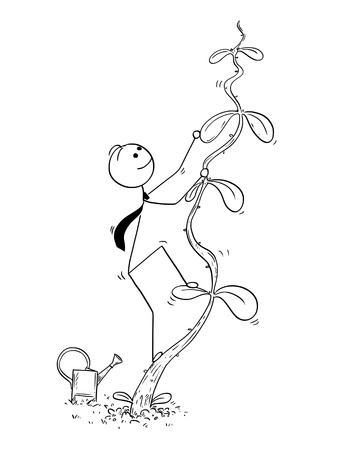 Cartoon stick man drawing conceptual illustration of businessman climbing high plant or beanstalk. Business concept of success, career and startup. Illustration
