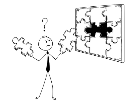 Cartoon stick man drawing conceptual illustration of businessman with two jigsaw puzzle pieces in hands to decide which on will fit. Business concept of decision, solution and creativity.
