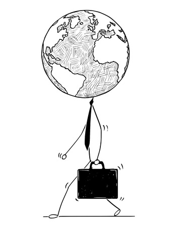 Cartoon stick man drawing conceptual illustration of walking businessman or politician with earth world globe as head. Business concept of fast global, international or worldwide business.