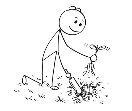 Cartoon stick man drawing illustration of gardener on garden digging a hole for plant with small shovel.