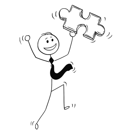 Cartoon stick man drawing conceptual illustration of happy businessman with jigsaw puzzle piece in hand. Business concept of problem and solution.