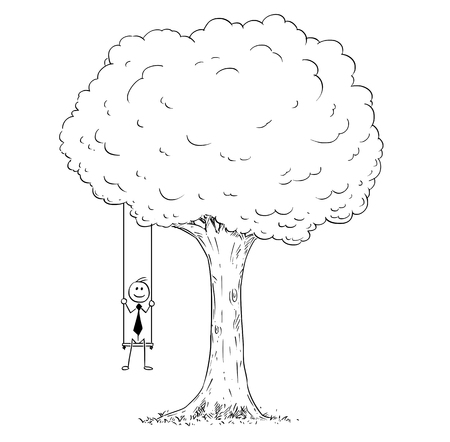 Cartoon stick man drawing conceptual illustration of happy businessman sitting on the tree swing hanging on the branch. Business concept of success.