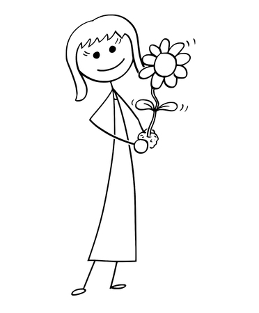 Cartoon stick man drawing conceptual illustration of business woman care about blooming plant in his hand. Business concept of investment, growth and success . Illustration