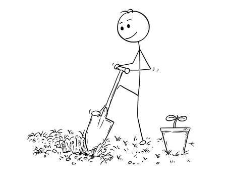 Cartoon Stick Mann Zeichnung Illustration der Gärtner auf Garten , der ein Loch für die Anlage mit Schaufel oder Spaten zu graben Standard-Bild - 95366166