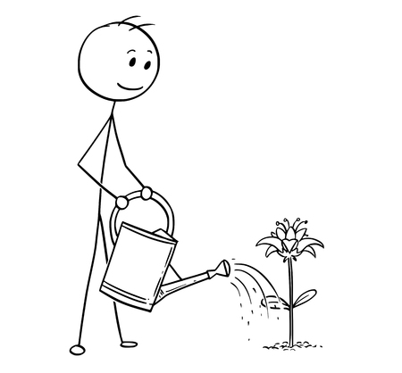 Cartoon stick man drawing illustration of gardener on garden watering blooming plant with can. 일러스트