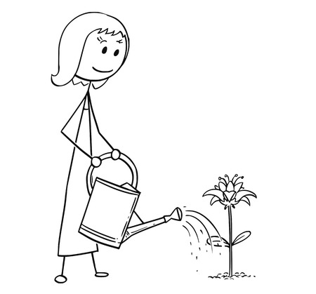 Cartoon stick man drawing illustration of female gardener woman on garden watering blooming plant with can. 일러스트