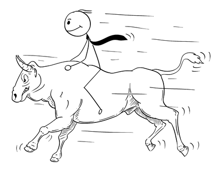 Cartoon stick man drawing conceptual illustration of businessman riding bull. Business concept of rising market and growth.