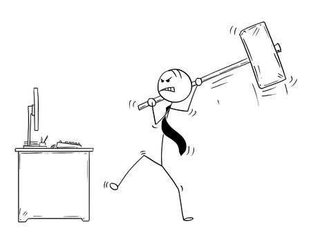 Cartoon stick man drawing conceptual illustration of angry businessman ready to destroy his office computer by large sledgehammer or hammer. Illustration