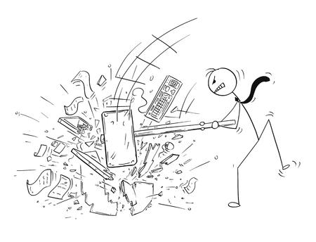 De stokmens die van het beeldverhaal conceptuele illustratie van boze zakenman trekt die zijn bureaucomputer vernietigt door grote voorhamer of hamer.