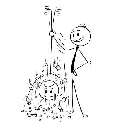 Cartoon stick man drawing conceptual illustration of businessman shaking out money from his client or customer. Business concept of debt, loan or charges. Illustration