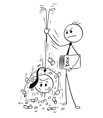 Cartoon stick man drawing conceptual illustration of taxation clerk shaking out money for tax from businessman.