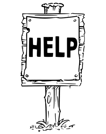 Vector drawing of wooden sign board with business text help.