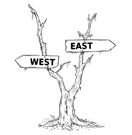 Vector drawing of dead swamp or desert tree with west or east business decision arrow signs.