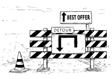 dessin animé vecteur de dessin de bloc de circulation de route de façon avec arrêt de panneaux de signalisation d & # 39 ; arrêt