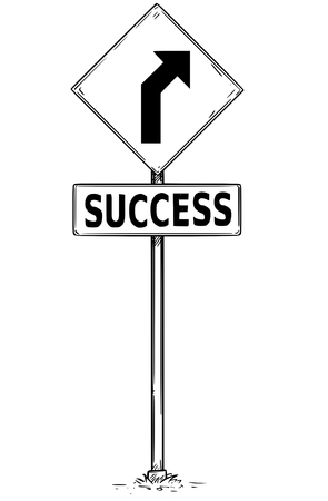 Vector drawing of curved road arrow traffic sign with success business text board.