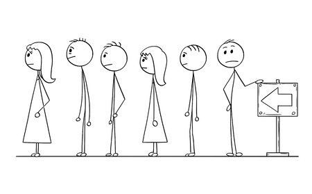 Cartoon stick man drawing conceptual illustration of group of people waiting in line or queue