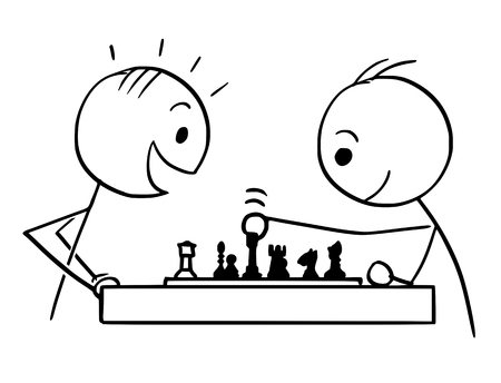 Cartoon stick man drawing conceptual illustration of two men or businessmen playing game of chess 일러스트