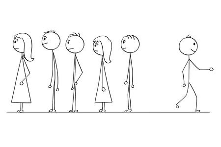 Cartoon stick man drawing conceptual illustration of man looking for another way instead of waiting in line or queue with crowd of people. Business concept problem solution and creativity. Illustration
