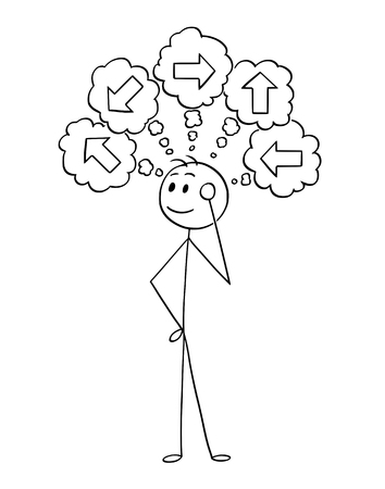 Cartoon stick man drawing conceptual illustration of businessman thinking about what direction to choose. Business concept of decision.