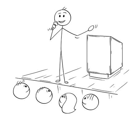 Cartoon stick man rysunek koncepcyjny ilustracja biznesmen, biznes mówca lub mówca z mikrofonem. Wygłaszanie przemówień lub mówienie do publiczności.