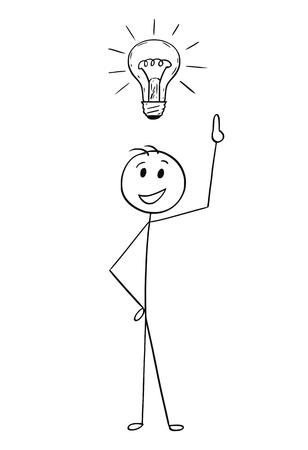 Karikaturstockmann, der Begriffsillustration des Geschäftsmannes mit Glühlampe über Kopf zeichnet. Geschäftskonzept der Idee, der Lösung und der Fantasie.