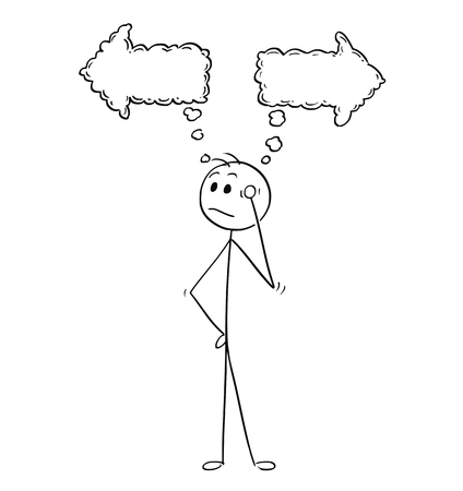 Cartoon stick man drawing conceptual illustration of businessman thinking about what direction to choose, left or right. Business concept of decision. Illustration