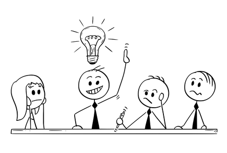Cartoon stick man drawing conceptual illustration of business team meeting and brainstorming