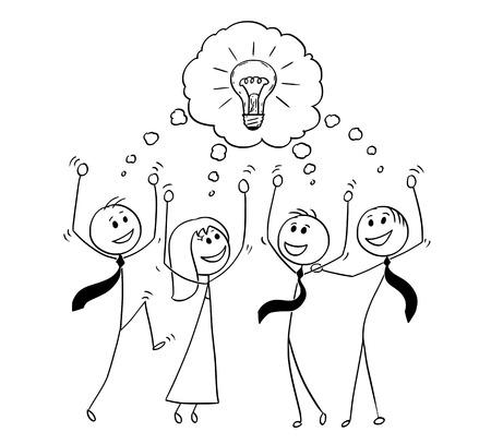 Uomo del bastone del fumetto che disegna illustrazione concettuale del gruppo di affari che celebra riuscita riunione e brainstorming. Concetto di lavoro di squadra e creatività.