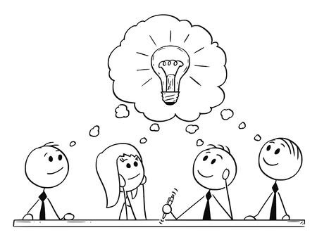Cartoon stick man rysunek koncepcyjny ilustracja spotkania zespołu biznesowego i burzy mózgów. Pojęcie pracy zespołowej i kreatywności. Ilustracje wektorowe