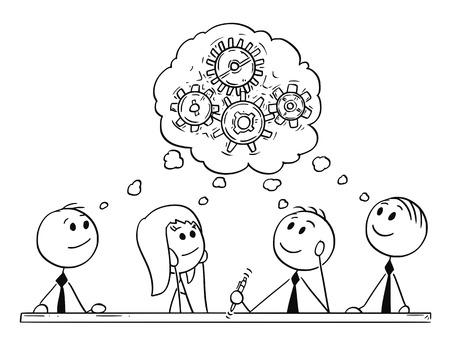 漫画スティック男は、ビジネスチームの会議やブレーンストーミングの概念的なイラストを描きます