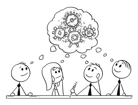 Cartoon Stick Mann Zeichnung konzeptionelle Darstellung der Business-Team Sitzung und Brainstorming