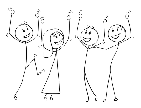 Cartoon stick man drawing illustration of business team or group of people celebrating success.