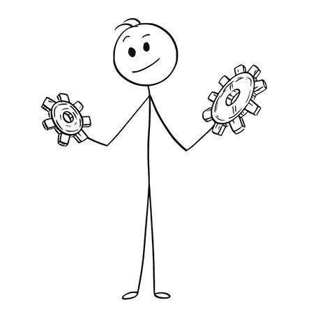 Cartoon stick man drawing conceptual illustration of businessman looking at two cogwheels